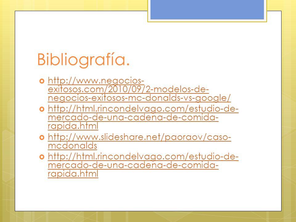 Bibliografía. http://www.negocios-exitosos.com/2010/09/2-modelos-de-negocios-exitosos-mc-donalds-vs-google/