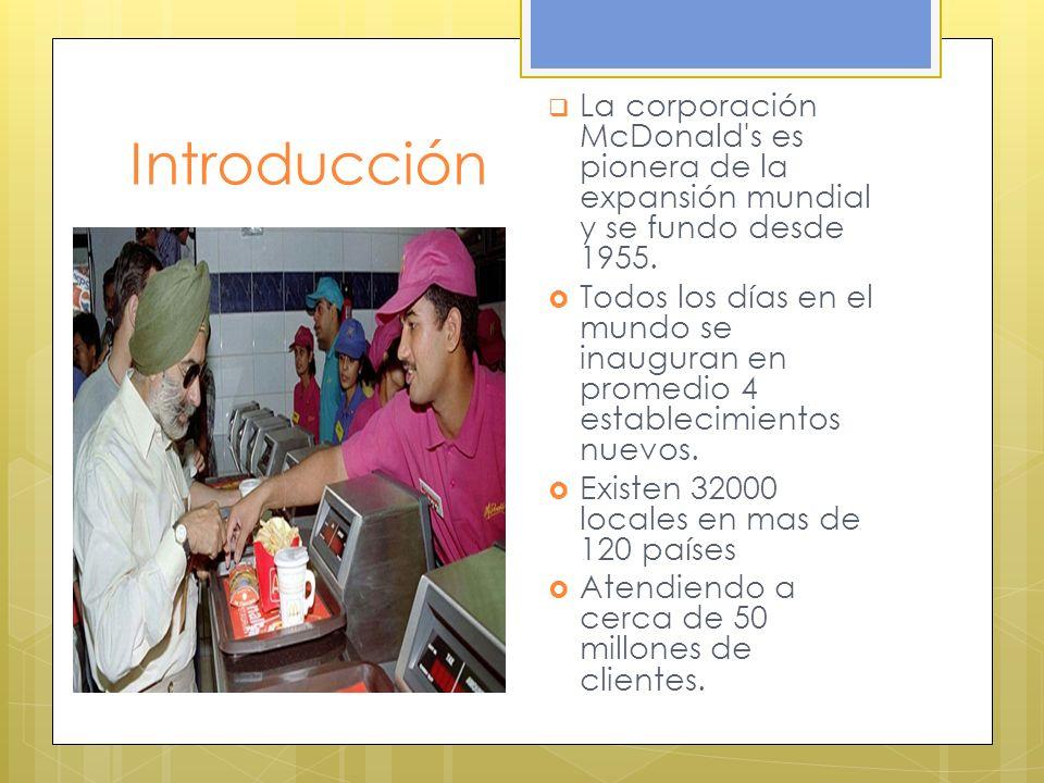La corporación McDonald s es pionera de la expansión mundial y se fundo desde 1955.