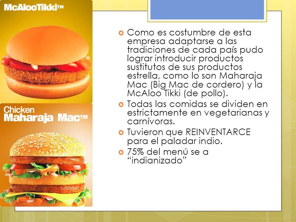 Como es costumbre de esta empresa adaptarse a las tradiciones de cada país pudo lograr introducir productos sustitutos de sus productos estrella, como lo son Maharaja Mac (Big Mac de cordero) y la McAloo Tikki (de pollo).