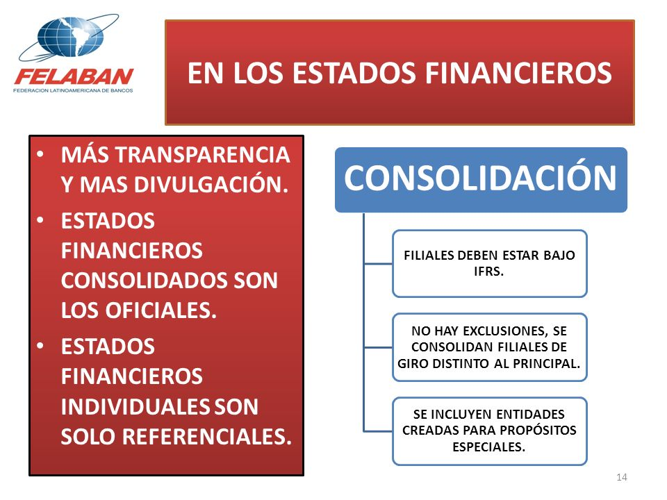 EN LOS ESTADOS FINANCIEROS