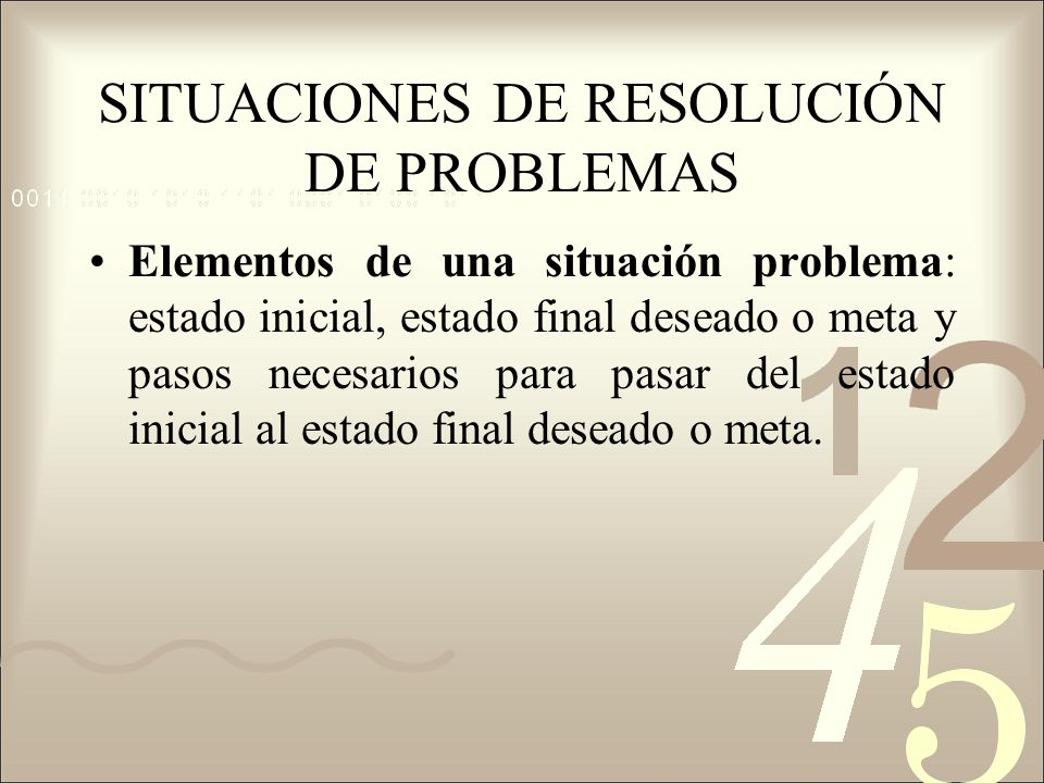 SITUACIONES DE RESOLUCIÓN DE PROBLEMAS