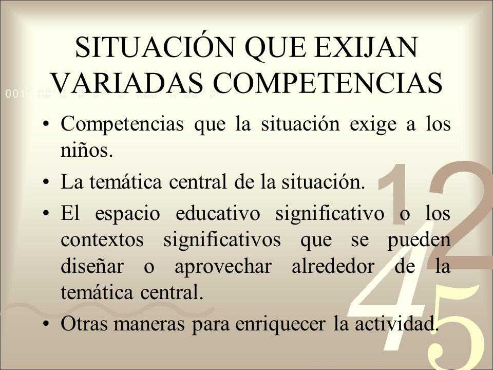 SITUACIÓN QUE EXIJAN VARIADAS COMPETENCIAS