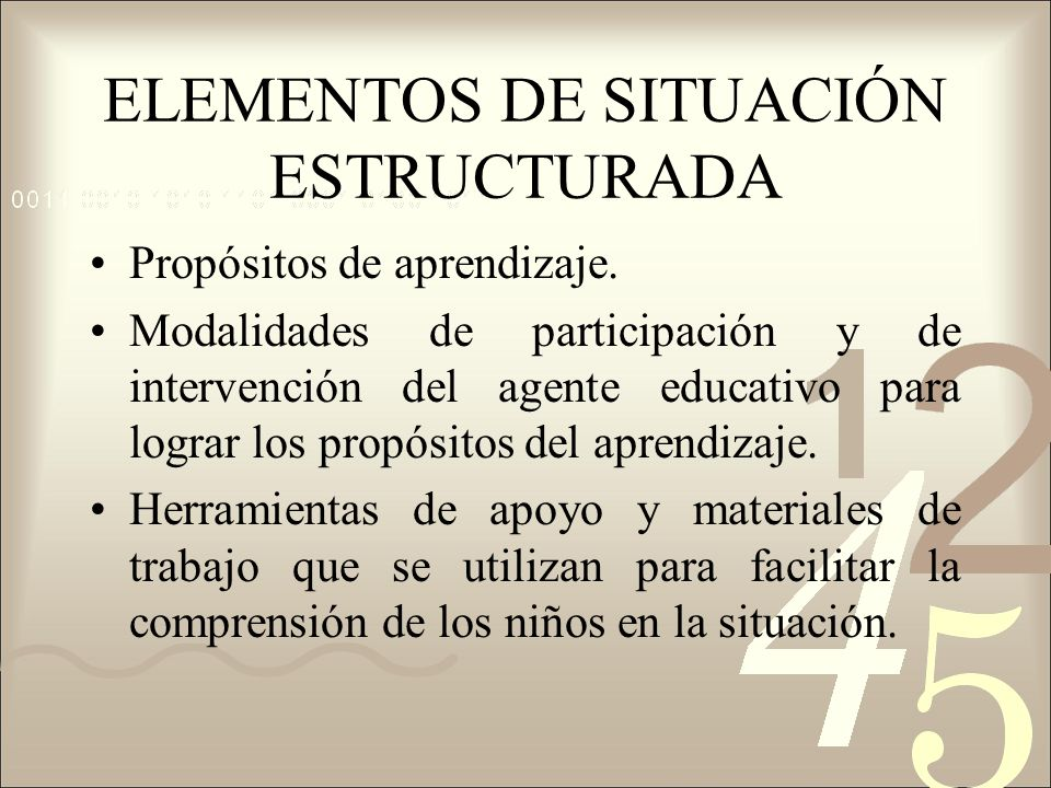 ELEMENTOS DE SITUACIÓN ESTRUCTURADA