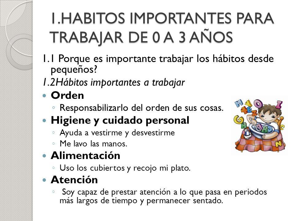 1.HABITOS IMPORTANTES PARA TRABAJAR DE 0 A 3 AÑOS