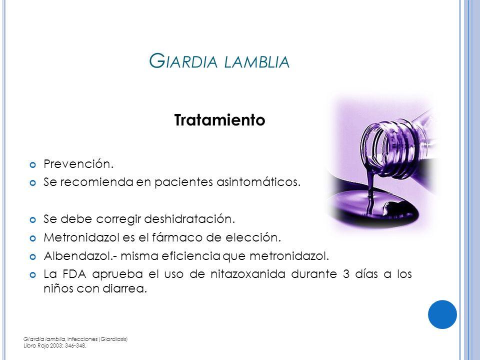 Giardia lamblia Tratamiento Prevención.