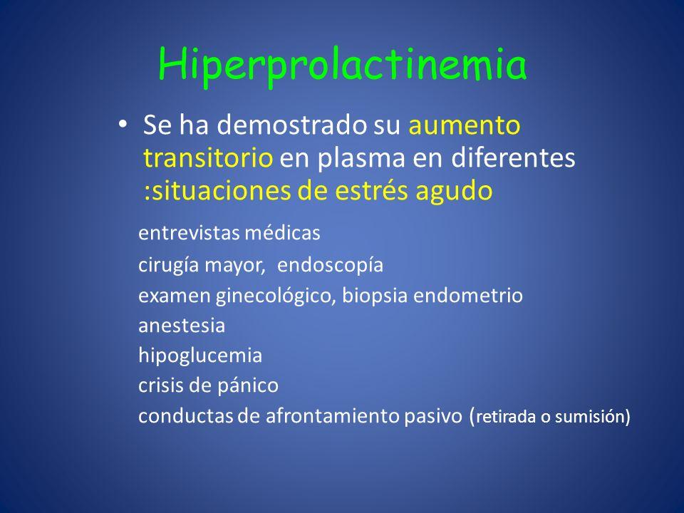 Hiperprolactinemia Se ha demostrado su aumento transitorio en plasma en diferentes :situaciones de estrés agudo.