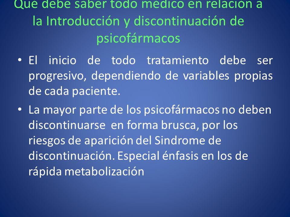 Qué debe saber todo médico en relación a la Introducción y discontinuación de psicofármacos