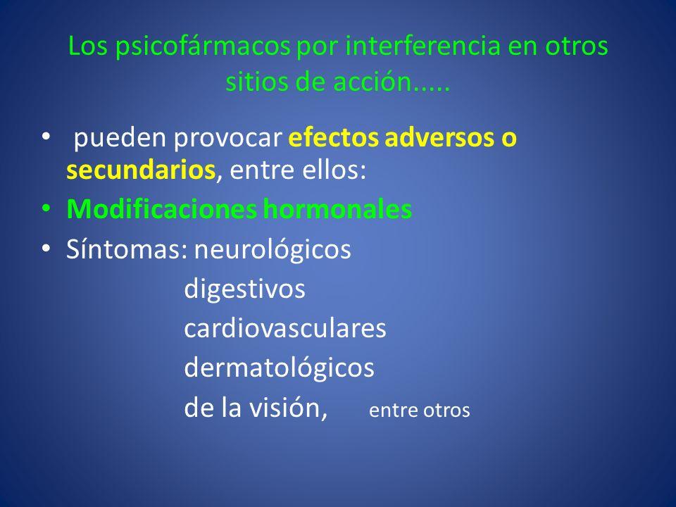 Los psicofármacos por interferencia en otros sitios de acción.....