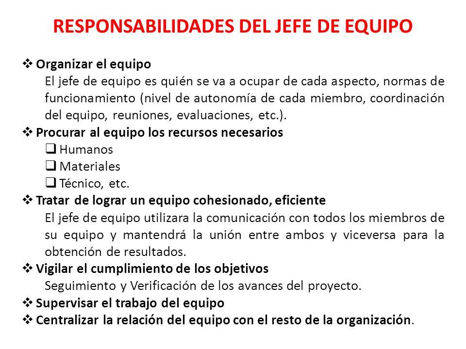 RESPONSABILIDADES DEL JEFE DE EQUIPO