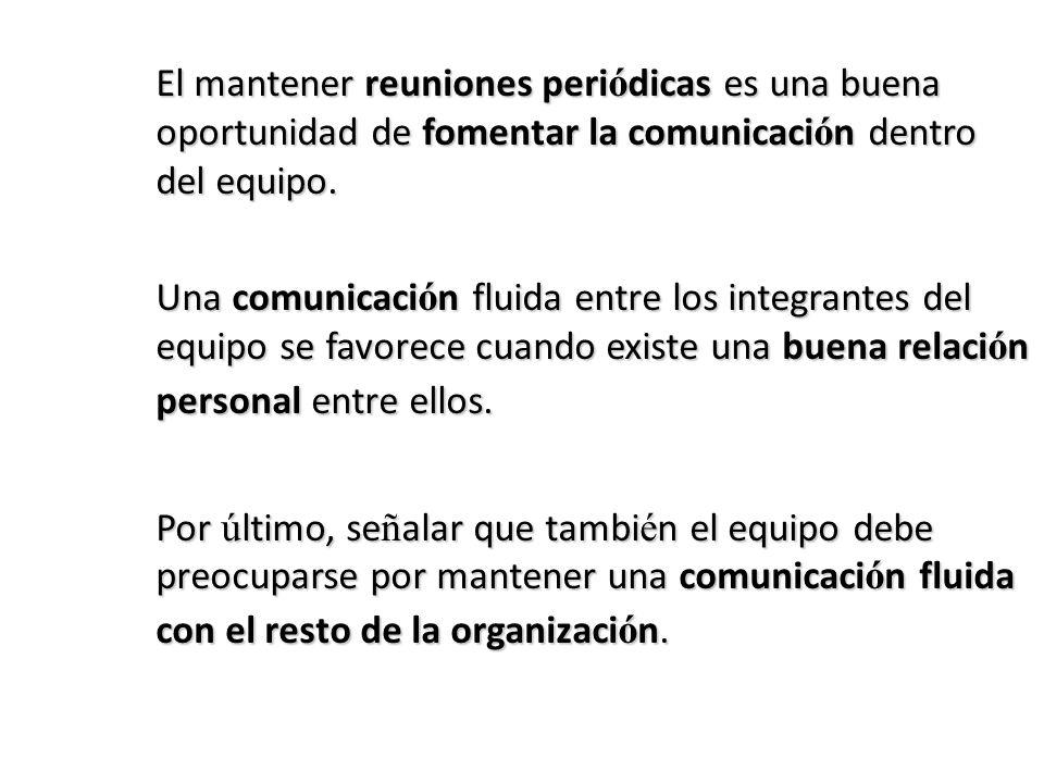 El mantener reuniones periódicas es una buena oportunidad de fomentar la comunicación dentro del equipo.