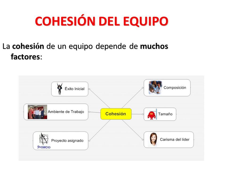 COHESIÓN DEL EQUIPO La cohesión de un equipo depende de muchos factores: