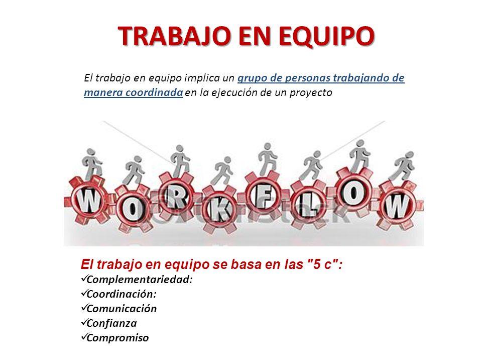 TRABAJO EN EQUIPO El trabajo en equipo se basa en las 5 c :