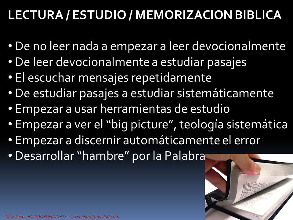 LECTURA / ESTUDIO / MEMORIZACION BIBLICA