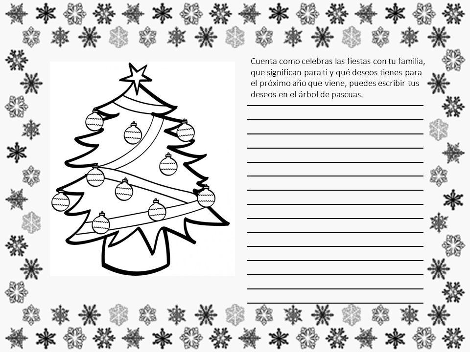 Cuenta como celebras las fiestas con tu familia, que significan para ti y qué deseos tienes para el próximo año que viene, puedes escribir tus deseos en el árbol de pascuas.