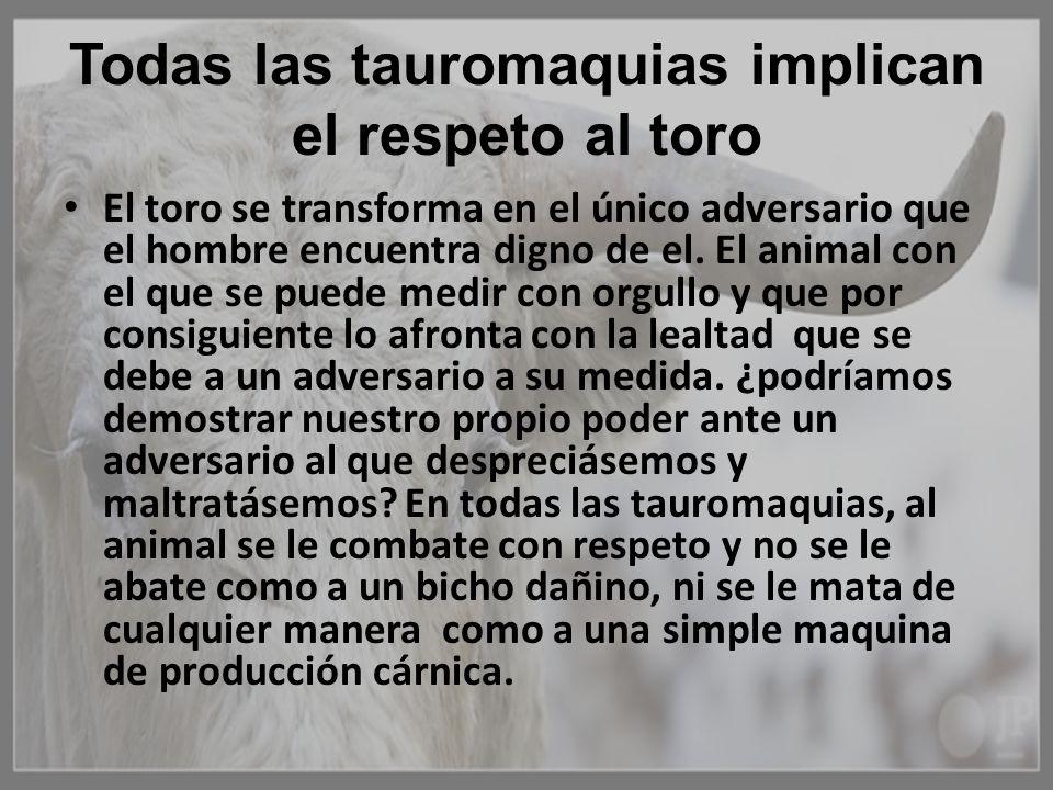 Todas las tauromaquias implican el respeto al toro