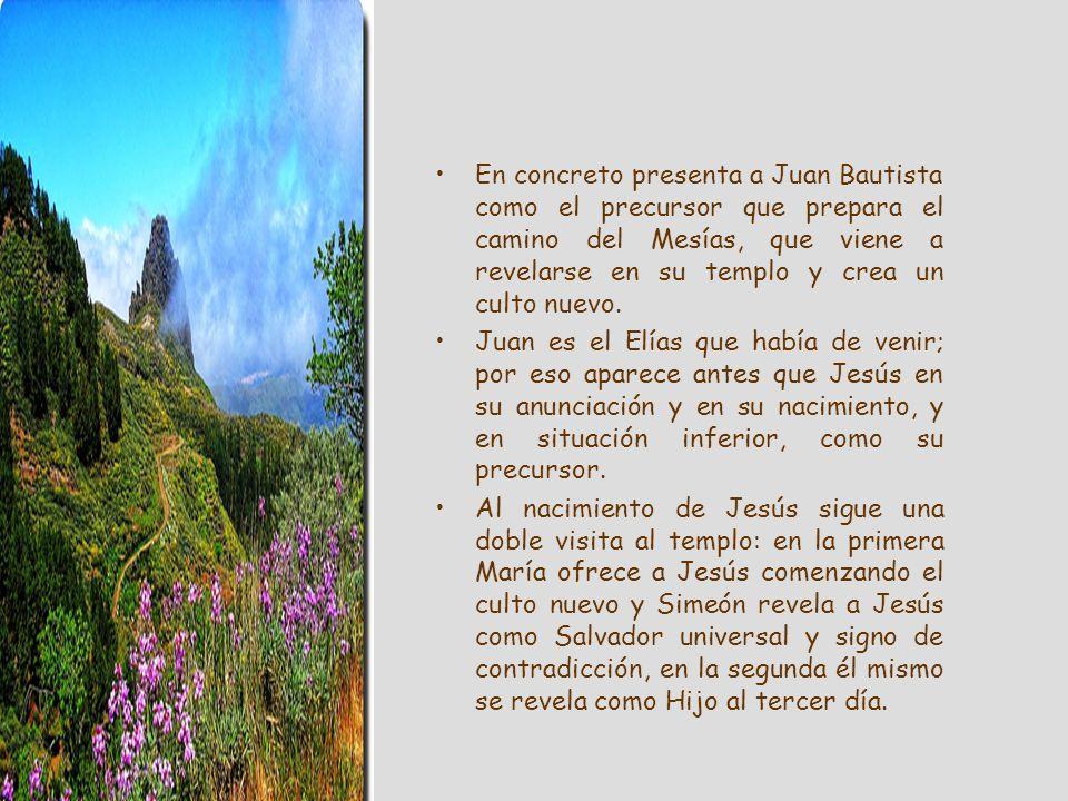 En concreto presenta a Juan Bautista como el precursor que prepara el camino del Mesías, que viene a revelarse en su templo y crea un culto nuevo.
