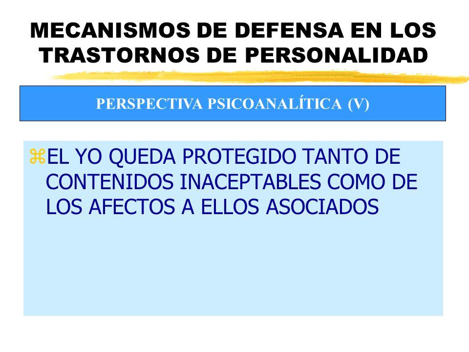 MECANISMOS DE DEFENSA EN LOS TRASTORNOS DE PERSONALIDAD