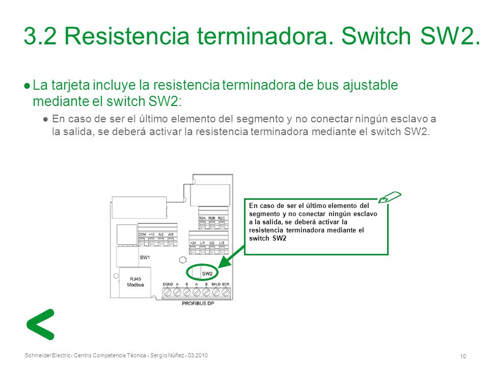 3.2 Resistencia terminadora. Switch SW2.