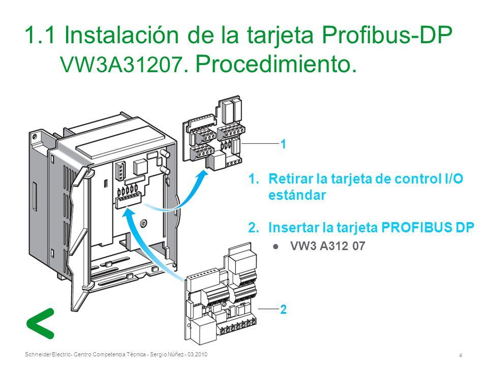 1.1 Instalación de la tarjeta Profibus-DP VW3A31207. Procedimiento.