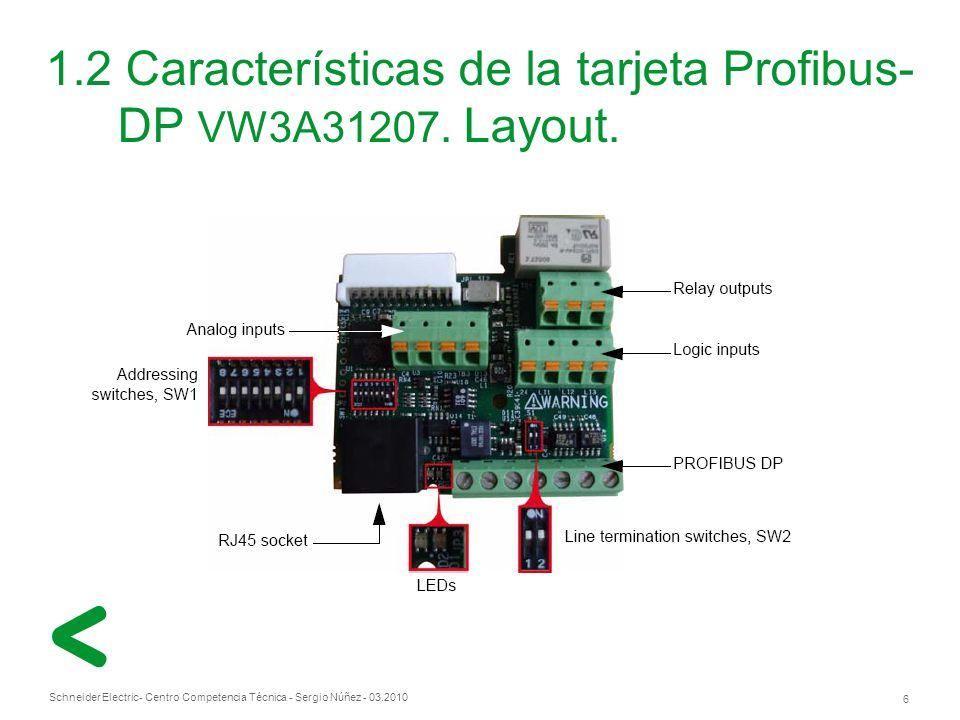 1.2 Características de la tarjeta Profibus-DP VW3A31207. Layout.