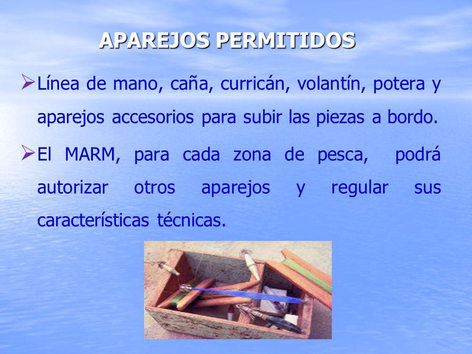 Aparejos permitidos Línea de mano, caña, curricán, volantín, potera y aparejos accesorios para subir las piezas a bordo.