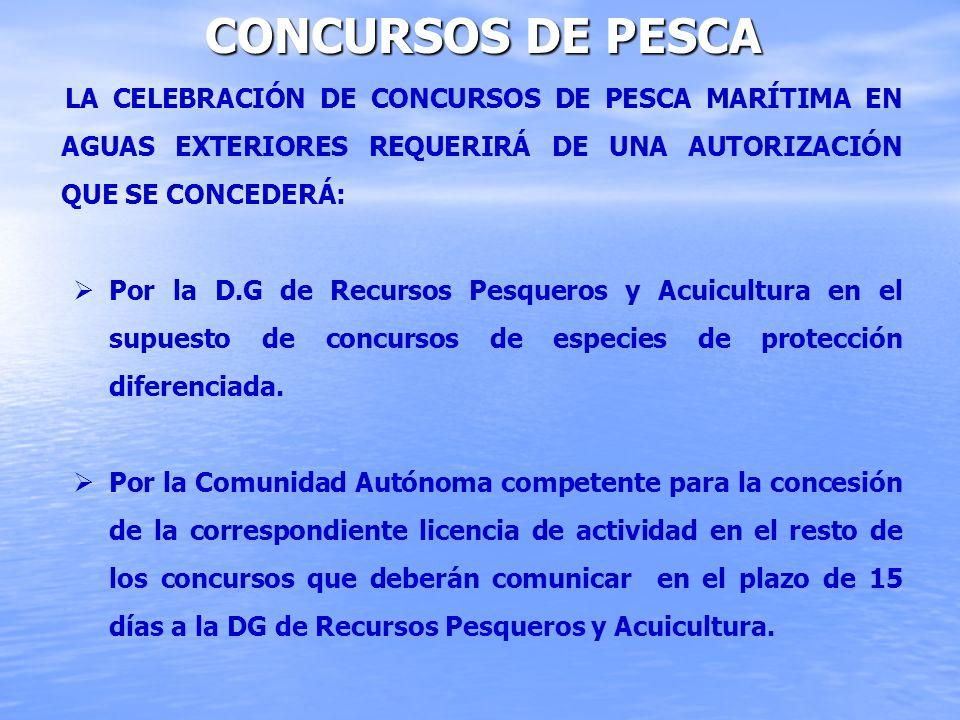 Concursos de Pesca La celebración de concursos de pesca marítima en aguas exteriores requerirá de una autorización que se concederá: