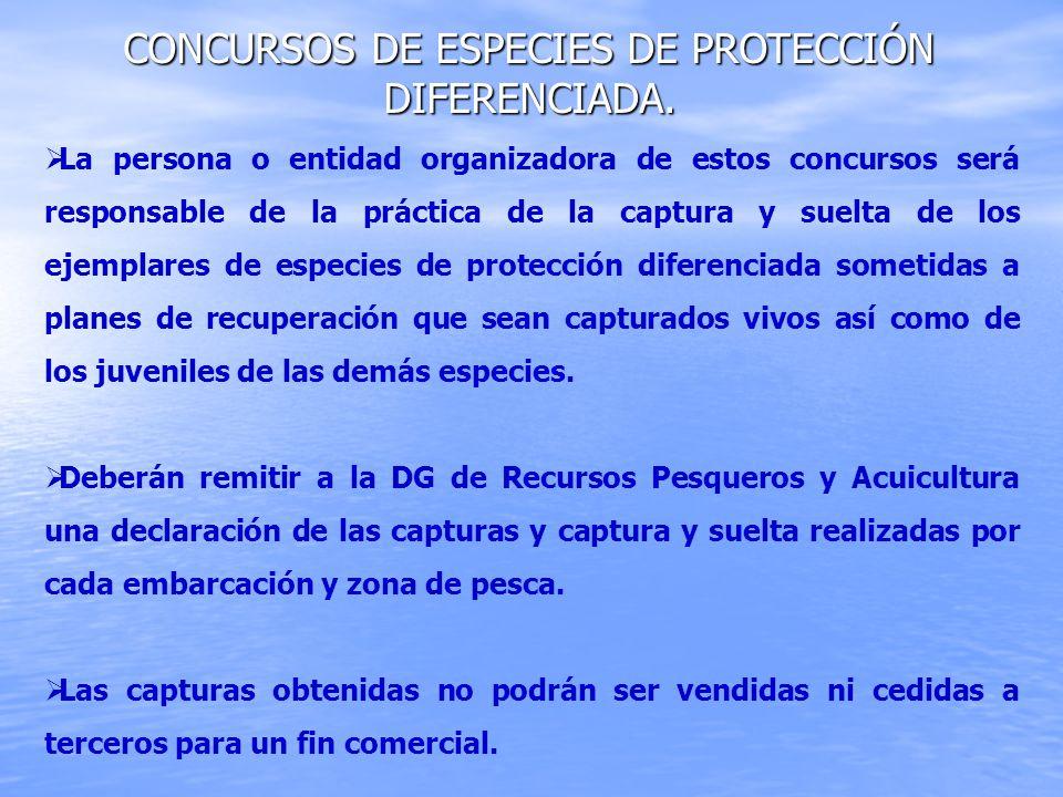 Concursos de especies de protección diferenciada.