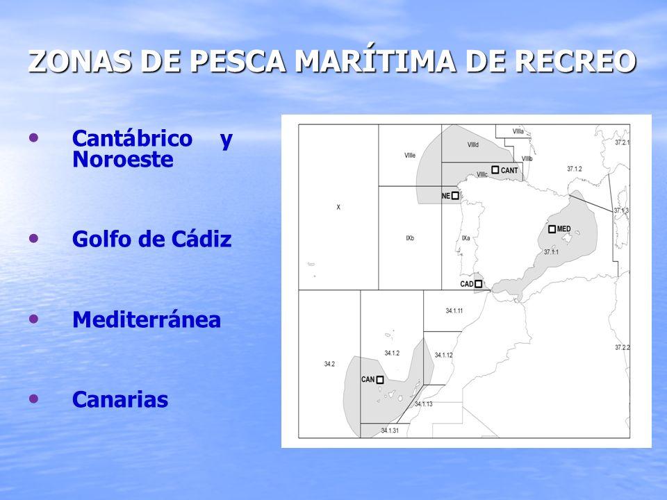Zonas de pesca marítima de recreo