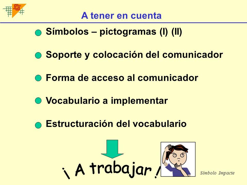 ¡ A trabajar ! A tener en cuenta Símbolos – pictogramas (I) (II)
