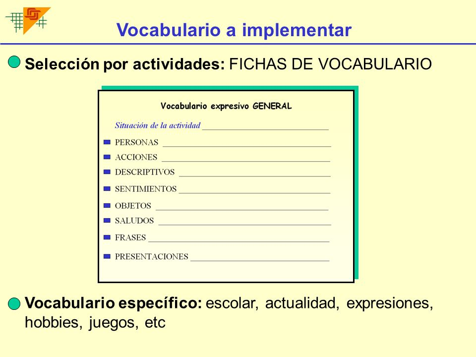 Vocabulario a implementar