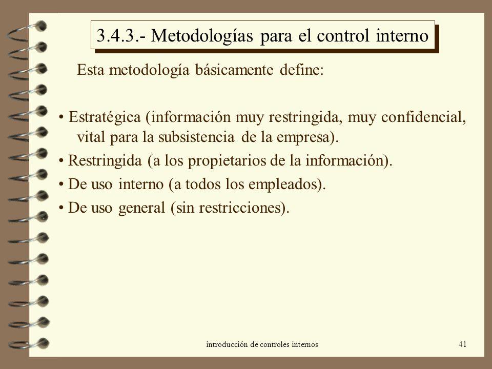 3.4.3.- Metodologías para el control interno
