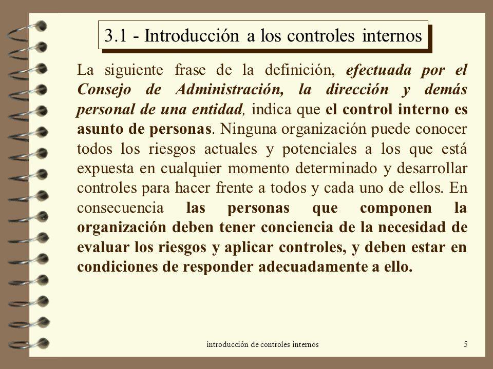 3.1 - Introducción a los controles internos