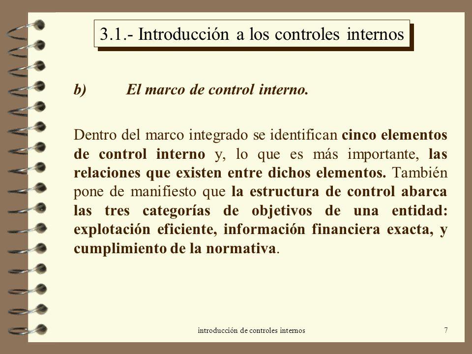 3.1.- Introducción a los controles internos