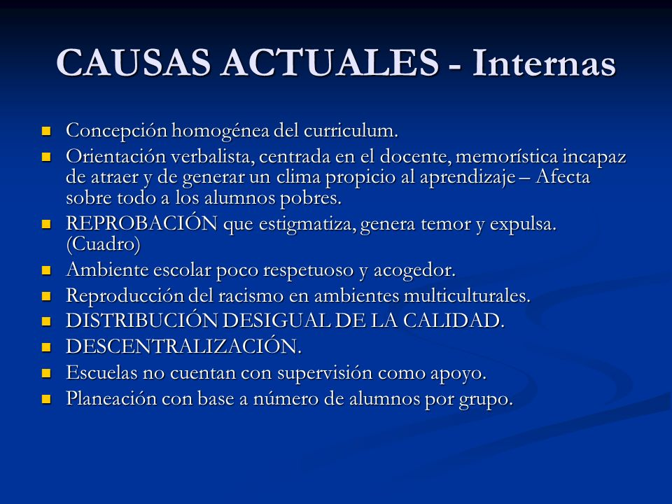 CAUSAS ACTUALES - Internas