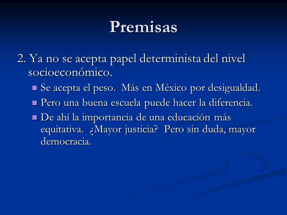 Premisas 2. Ya no se acepta papel determinista del nivel socioeconómico. Se acepta el peso. Más en México por desigualdad.