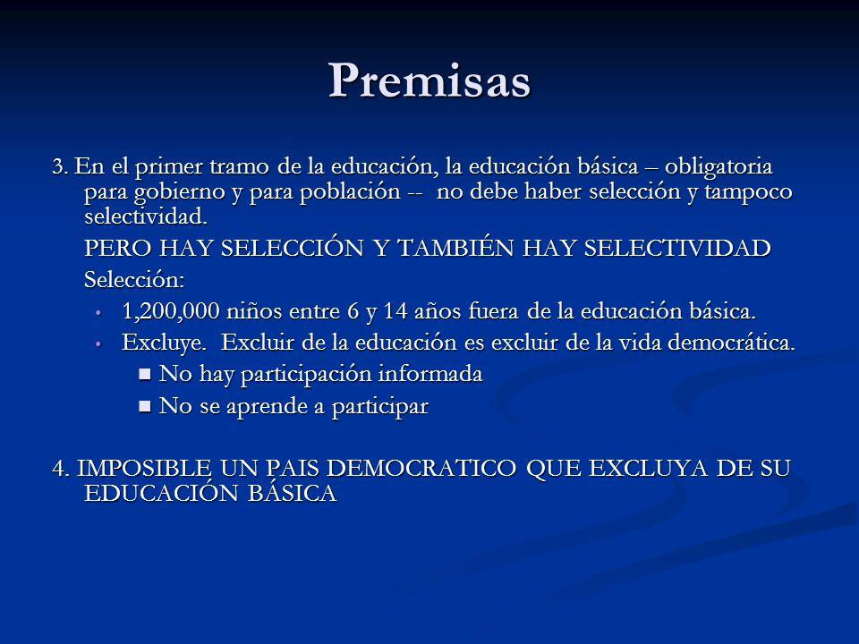 Premisas PERO HAY SELECCIÓN Y TAMBIÉN HAY SELECTIVIDAD Selección: