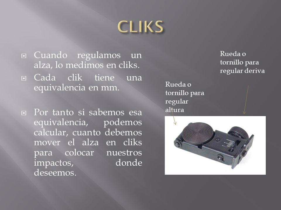 CLIKS Cuando regulamos un alza, lo medimos en cliks.