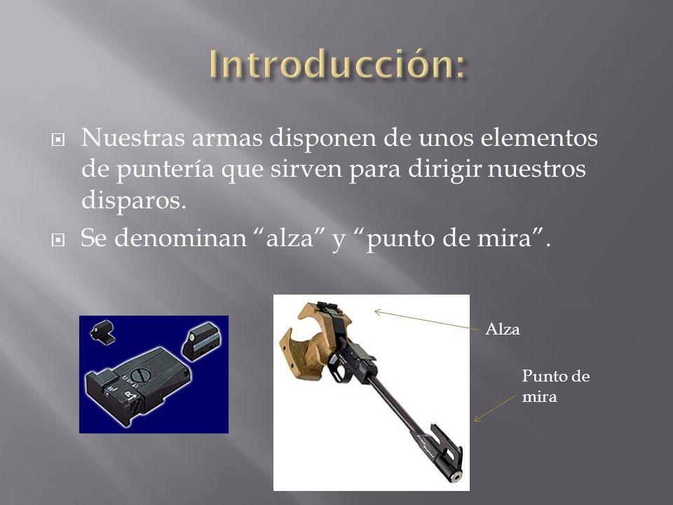Introducción: Nuestras armas disponen de unos elementos de puntería que sirven para dirigir nuestros disparos.