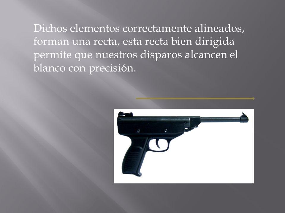 Dichos elementos correctamente alineados, forman una recta, esta recta bien dirigida permite que nuestros disparos alcancen el blanco con precisión.