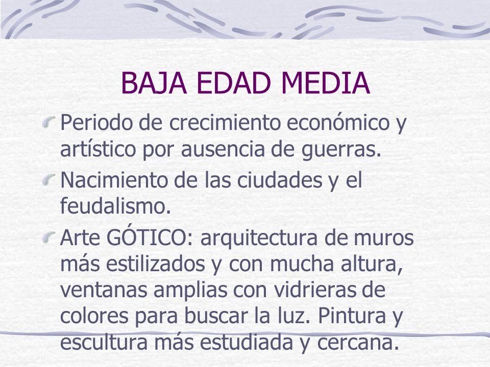 BAJA EDAD MEDIA Periodo de crecimiento económico y artístico por ausencia de guerras. Nacimiento de las ciudades y el feudalismo.