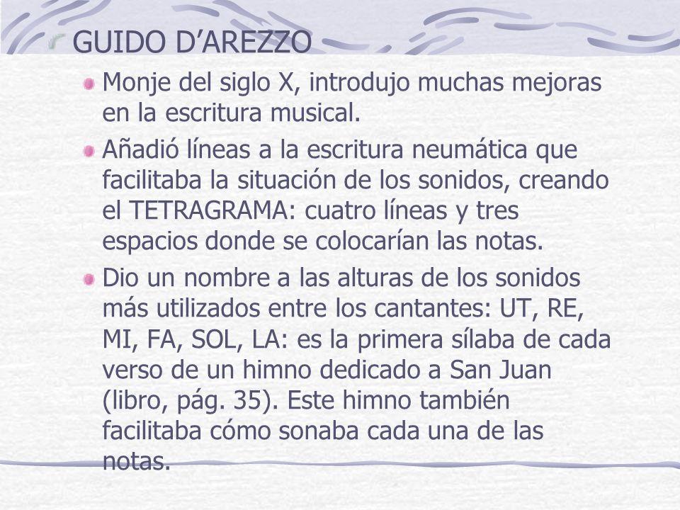 GUIDO D'AREZZO Monje del siglo X, introdujo muchas mejoras en la escritura musical.