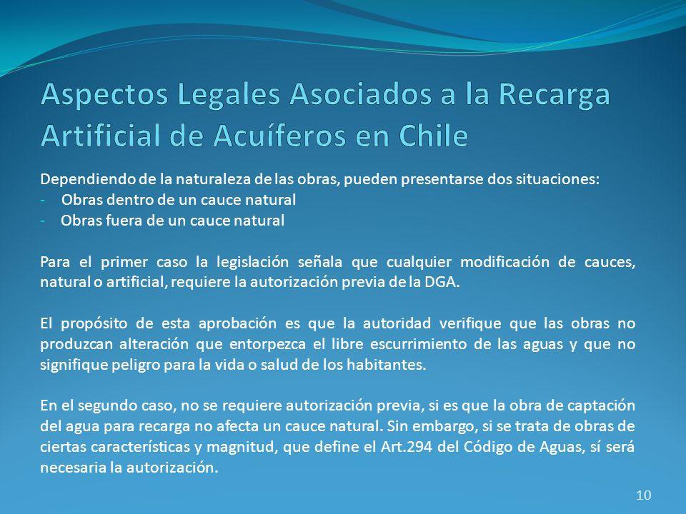 Aspectos Legales Asociados a la Recarga Artificial de Acuíferos en Chile