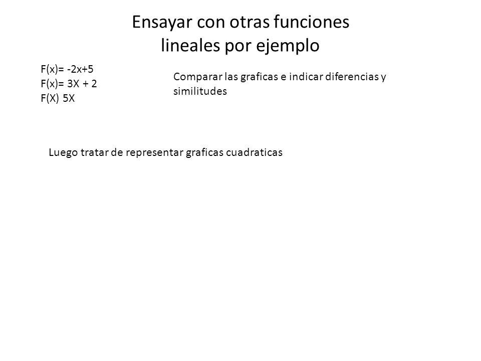 Ensayar con otras funciones lineales por ejemplo