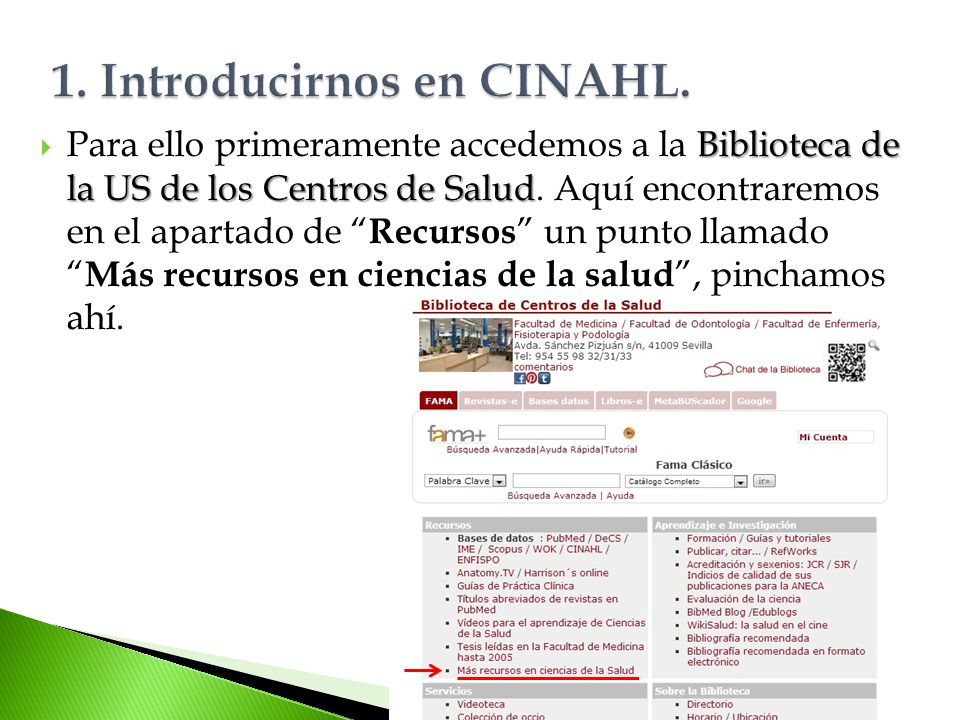 1. Introducirnos en CINAHL.