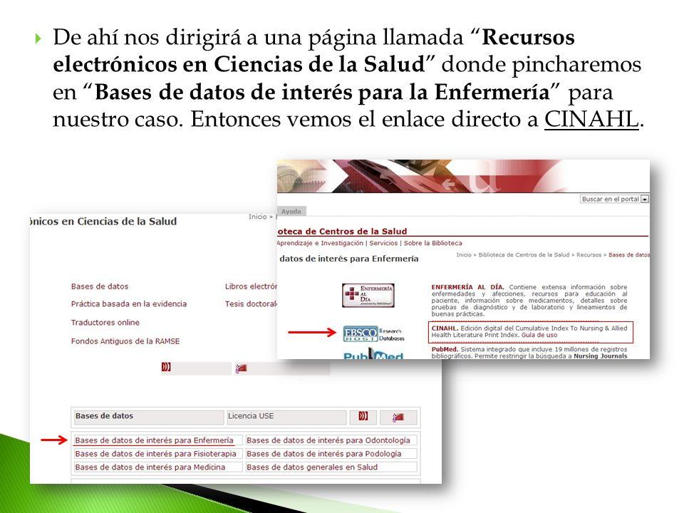 De ahí nos dirigirá a una página llamada Recursos electrónicos en Ciencias de la Salud donde pincharemos en Bases de datos de interés para la Enfermería para nuestro caso.