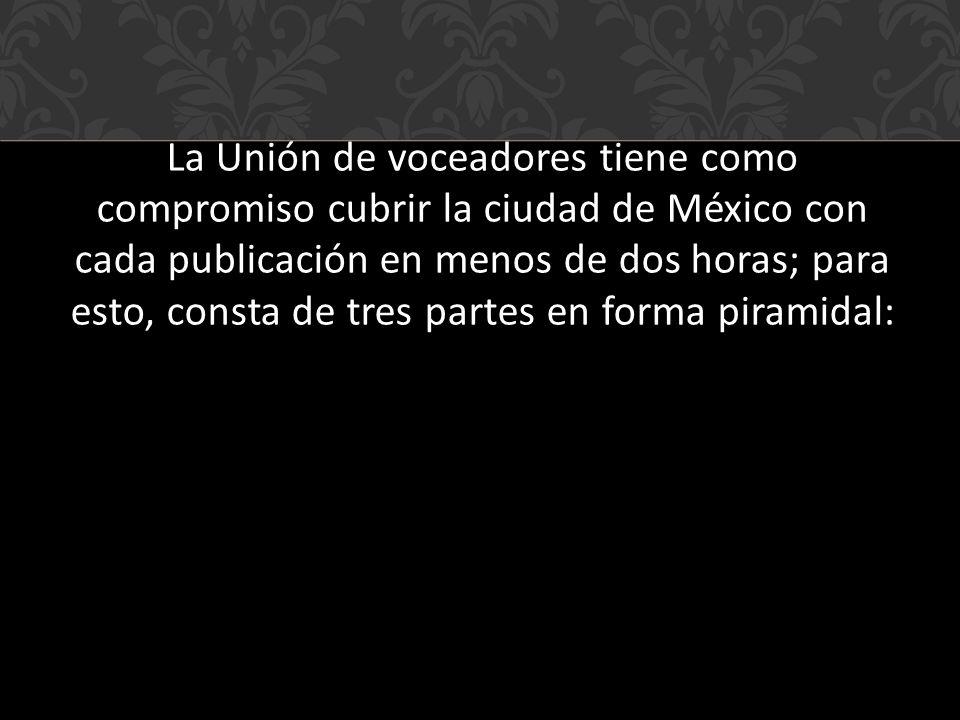 La Unión de voceadores tiene como compromiso cubrir la ciudad de México con cada publicación en menos de dos horas; para esto, consta de tres partes en forma piramidal: