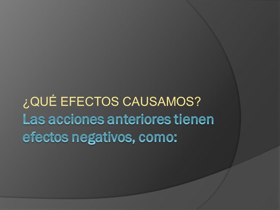 Las acciones anteriores tienen efectos negativos, como: