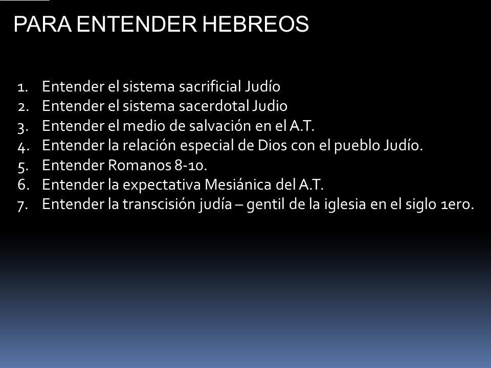 PARA ENTENDER HEBREOS Entender el sistema sacrificial Judío
