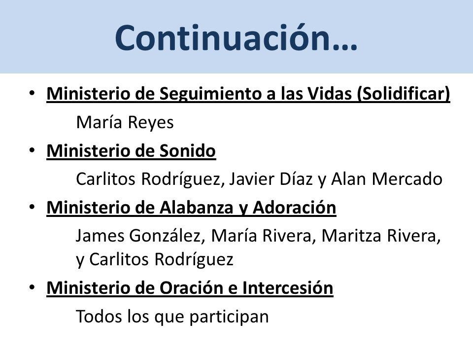 Continuación… Ministerio de Seguimiento a las Vidas (Solidificar)