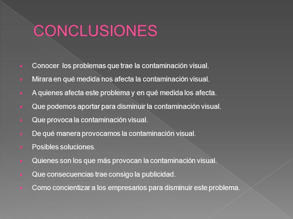 CONCLUSIONES Conocer los problemas que trae la contaminación visual.
